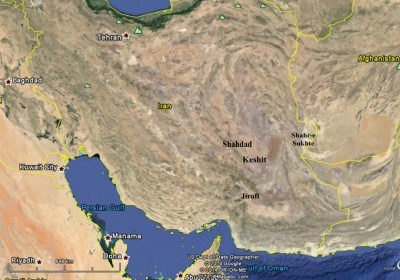 Figure 1. GoogleEarth map showing the location of Keshit and other major early urban centres of south-eastern Iran.