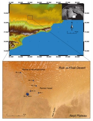 Figure 1. Map of place names and findspots in the southern Rub' al-Khali desert.