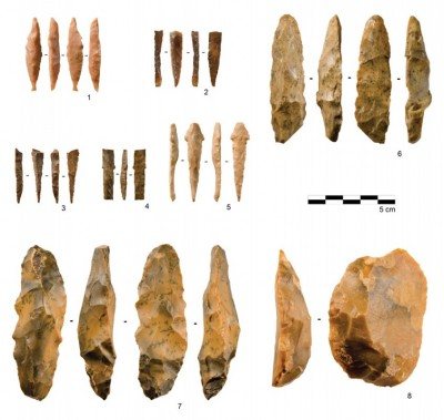 Figure 2. Neolithic artefacts from RK.12 and RK.13, including: 1–5) pressure-flaked arrowheads; 6 & 7) plano-convex bifacial preforms; and 8) scraper.