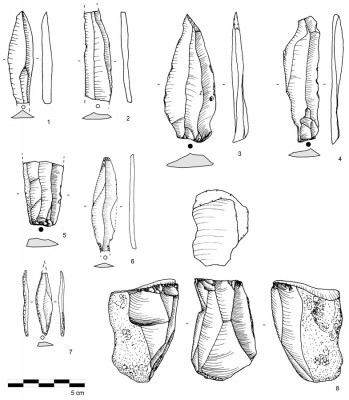 Figure 3. Late Palaeolithic artefacts from RK.2–RK.7, including: 1–6) laminar debitage; 7) backed bladelet; and 8) semi-tournant blade core.