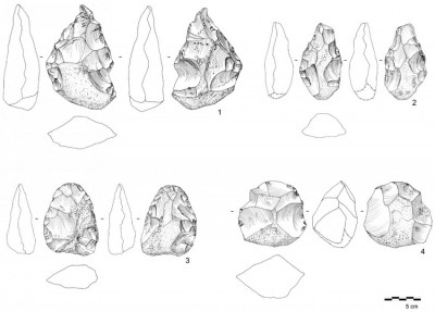 Figure 6. Lower Palaeolithic artefacts from RK.4 and RK.5, including: 1–3) Acheulean handaxes; and 4) discoidal core.