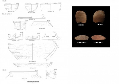 Figure 6. Ceramic vessels, and sherds used as tools (right) from Site FC.