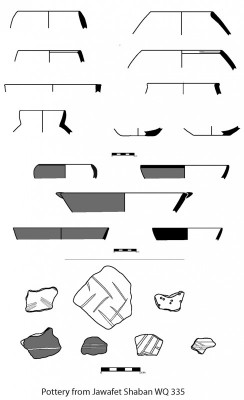 Figure 3. Pottery from Jawafat Shaban (WQ335) with distinctive Wadi Rabah decorative and surface treatments.