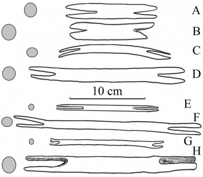 "Figure 2. Simplified contours (showing notched ends) and cross-sections of Middle Magdalenian (16 700–15 700 BC) reindeer antler <i>navettes</i> (A–D) compared with historical, round, stick shuttles (E–H); A, Poland, Maszycka (redrawn from Allain <i>et al.</i> 1985: fig. 49); B, France, Grappin (specimen '19' in private collections of Prince Ernest d'Arenberg, Château d'Arlay; redrawn from photograph by M. Bless); C, France, Le Placard (redrawn from Allain <i>et al.</i> 1985: fig. 32-2b); D, France, Roc-de-Marcamps (redrawn from Allain <i>et al.</i> 1985: fig. 23-1); E, wooden netting needle, Egypt, Late Middle Kingdom, 1800–1700 BC (redrawn from photograph of specimen UC7264 in the Petrie Museum collections); F, wooden netting needle, Western Australia, AD 1898 (redrawn from photograph of specimen Oc1960.11.61 in the British Museum collections); G, cane netting needle, Indonesia, Borneo (Dayak), AD 1900 (redrawn from photograph of specimen As1900,-.955 in the British Museum collections); H, cane ""<i>navette</i>, used by the roper's wife for net making (fish nets)"", Morocco, AD 1937 (redrawn from photograph of specimen 71.1937.29.56.1-2 in the Musée du Quai Branly collections)."