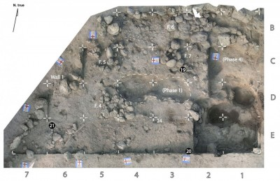Figure 2. Aerial view of phase 2 occupation surface (plot XX F) excavated at Wadi Hammeh 27 in 2014; each grid square measures 1 × 1m; the earlier 'XX F sondage' (phase 4) is located to the right, and a pit dug from the later phase 1 is indicated by a dashed line; white discs indicate the locations of 'artefact clusters'.