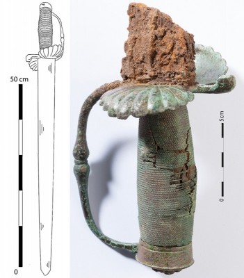 Figure 4. Tomb 4 (male, unknown age), Kindoki, drawing of the reconstructed sword (Sengeløv 2014) and detail of its handle (picture made at the Royal Institute for Cultural Heritage (IRPA/KIK)—Brussels).