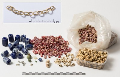 Figure 5. Glass and copper beads and seashells (<i>Pusula depauperata</i>), as well as a gold chain; tomb 8 (female, 40–60 years old), Kindoki (pictures made at the Royal Institute for Cultural Heritage (IRPA/KIK)—Brussels).