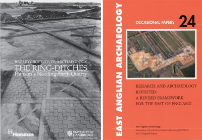 Figure 3. Monument imagery: left, project poster showing chequerboard-esque excavation of Butcher's Rise ring-ditch (bottom; photographs, M. Knight & C. Evans); right, cover of the 2011 <i>Research and archaeology revisited: a revised framework for the east of England</i>, featuring an aerial shot of the Low Ground barrows under excavation (with hand-dug transects through their mounds visible; and, far-right side, the main pond barrow's hollow; photograph, B. Robinson).