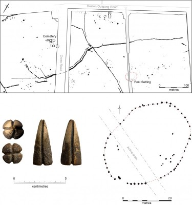 Figure 7. Langtoft, south Lincolnshire investigations showing post-setting (above and bottom right); lower left, the modified fossil belemnite.