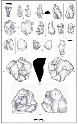 Figure 5. Sketch of stone artefacts from the Palaeolithic sites of Khosf: 1) notch (Kh. 170); 2) notch (Kh. 170); 3) end scraper (Kh. 170); 4) single side scraper (Kh. 053); 5) disc-shaped core (Kh. 038); 6) retouched flake (Kh. 078); 7) denticulate/retouched flake (Kh. 038); 8) retouched flake (Kh. 078); 9) retouched flake (Kh. 0170); 10) borer on Levallois flake (Kh. 170); 11) multidirectional core (Kh. 054); 12) broken biface (?) (Kh. 170).