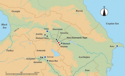Figure 1. Map showing the location of Hacı Elamxanlı Tepe and related Neolithic sites in the southern Caucasus.