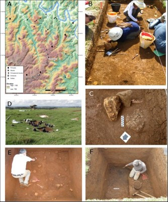Figure 2. A) Map of CBS and study sites; B) excavation of Abreu and Garcia funerary mound; C) secondary cremated deposit recovered at Abreu and Garcia; D) early stage of the excavations of oversized pit house at VB1; E) excavation of floor 3 at VB1; F) sequence of burnt floors exposed at VB1.