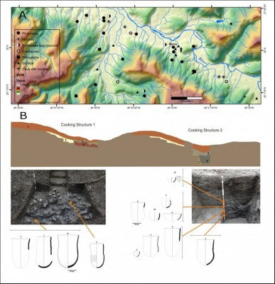 Figure 3. A) Map detailing Canoas River Valley and settlement in URU region; B) stratigraphical profile, excavated areas and rebuilt vessels from Bonin site, URU.