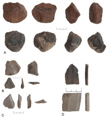Figure 6. A: Site 774, Lower Palaeolithic, pebble cores; B: site 785, Middle Palaeolithic, preferential Levallois core, Levallois point; C: site 786, Middle Palaeolithic, centripetal flake; D: site 776, Chalcolithic, burin, blade fragment.