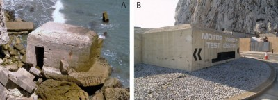 Figure 4. A) (ES-0001): Type 28 infantry variant at Sandy Bay; B) (ES-0025): modified Pentagonal pillbox.