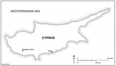 Figure 1. Map of Cyprus showing the locations of sites discussed in the text (by E. McClennen).