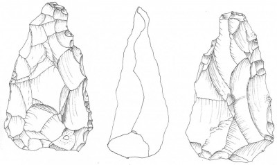 Figure 4. Drawing of Kholetria-Ortos biface based on a three-dimensional printed replica (by C. Runnels & P. Murray).
