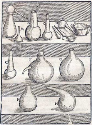 Figure 2. Part of the equipment of a 16th century laboratory as depicted in Lazarus Ercker's <em>Treatise on Ores and Assaying</em> (Sisco &amp; Smith 1951: 142).