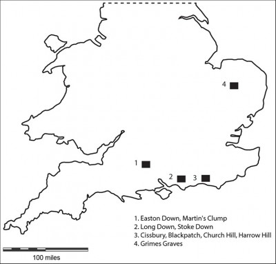 Figure 1. Location map of known British flint mines.